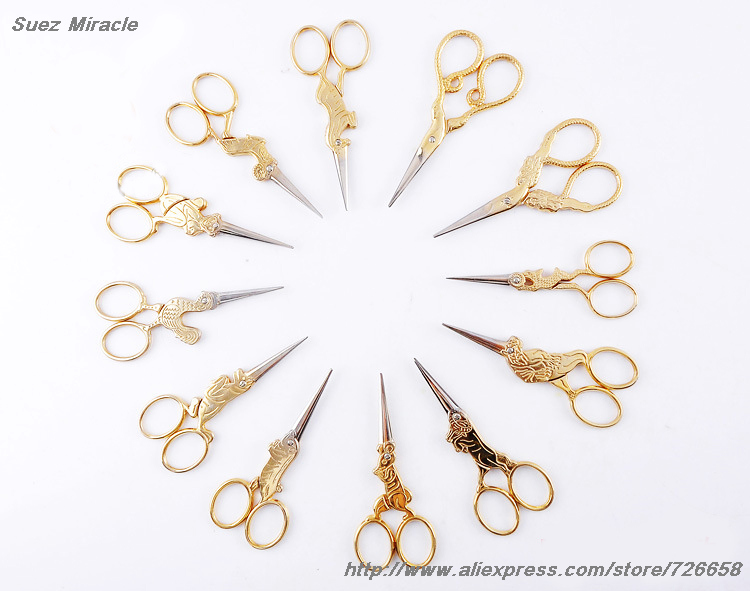 Twelve Chinese Zodiac Golden color Vintage Scissors Steel home use Tailor's Scissors For Fabric Sewing Accessories cute gift