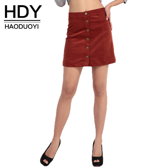 HDY Haoduoyi Весенняя мода Vintage кнопки Строки юбка высокой талии дизайн бренда женщины юбки для оптовой продажи