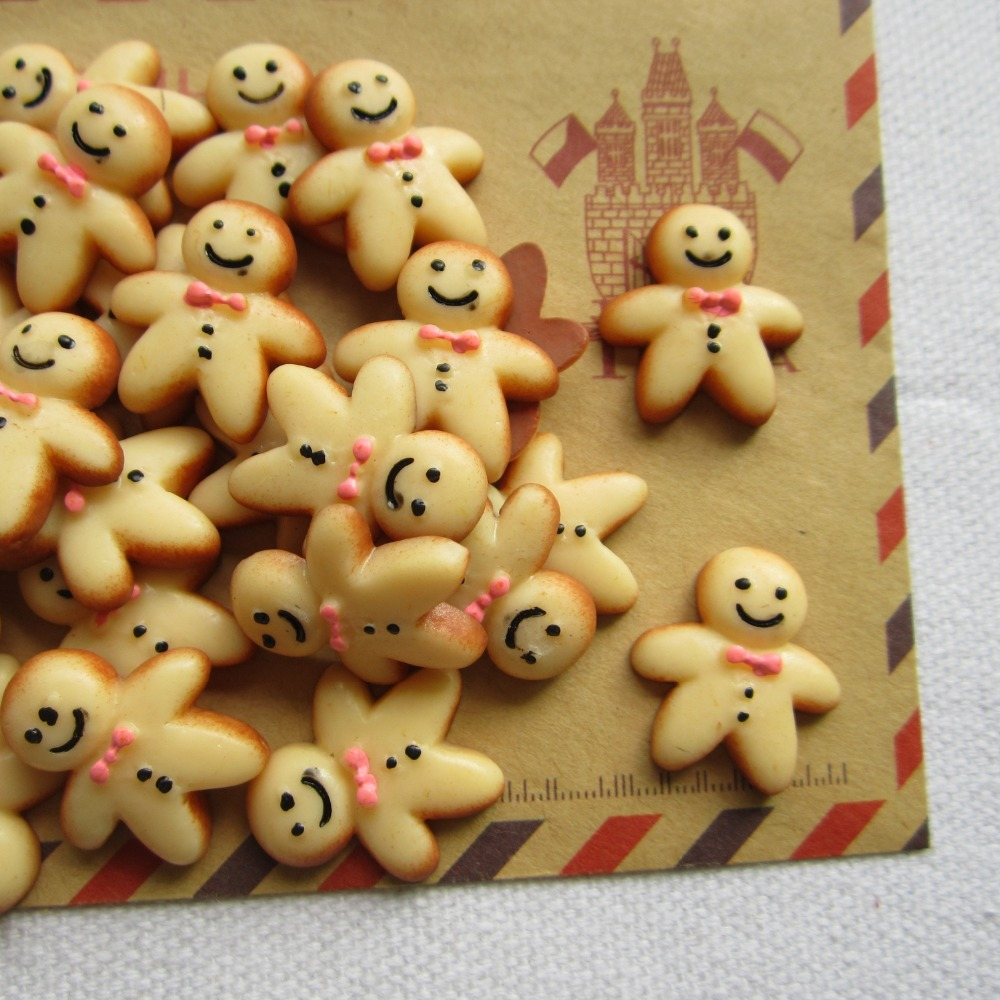 Resin Cute Gingerbread Man For Jewelry Diy 19*22mm mix Order Free Shipping Unequal In Performance Crafts Making Phone Deco Straightforward Rena! Min.order $6