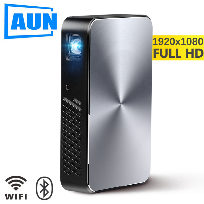 AUN Full HD Proiettore J10, 1920x1080 p, Costruire in Android, WIFI, HDMI. 6000 mah Batteria, Portatile MINI Projector.1080P Home Theater