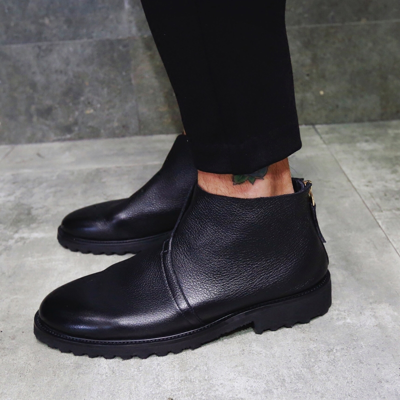 Fashion Designer UK Classic Men Boots Genuine Leather Black Round Toe Luxury Fashion Formal Ankle Boots Men Shoes Big Size 43