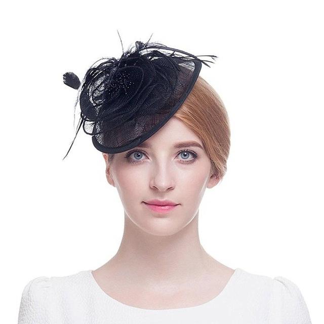 Venta de plumas hecho a mano sombrero de Lino hilado de novia sombrero dama Británica sombrero de fiesta