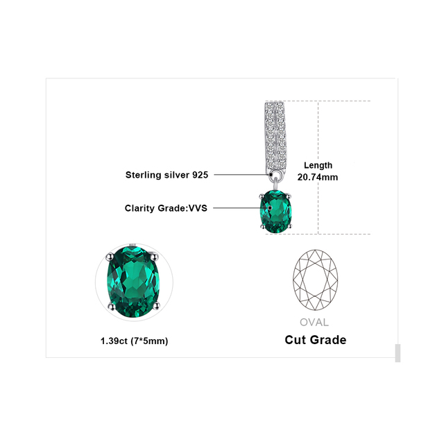 Oval Nano Emerald Drop Earrings
