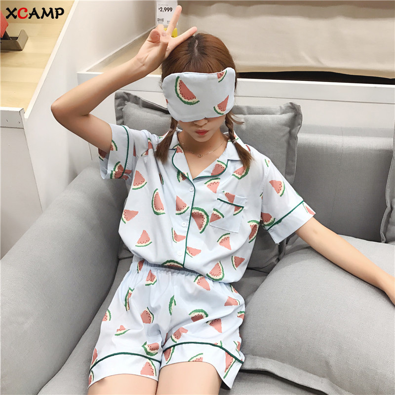 XCAMP Summer Pajamas Set For Women Sleepwear Sweet Women Pijamas Hot Sale Women Fashion Sweet 2019 New Arrivals Summer Clothes