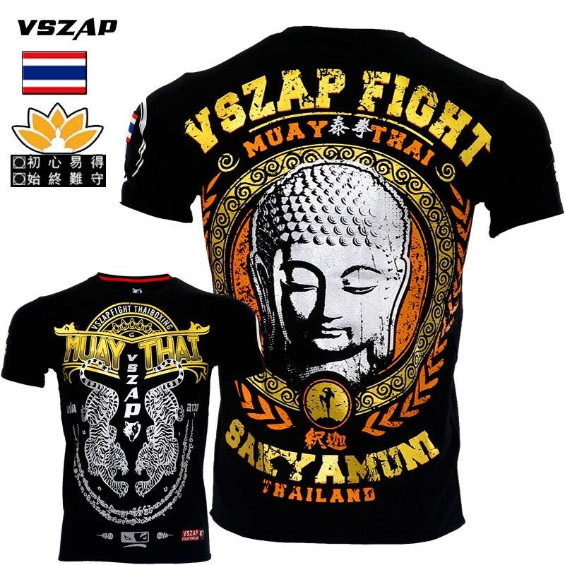 VSZAP Sakyamuni Boxing Top Tees For Men's MMA Kick Boxing Camisetas Muay Thai Tshirt Jerseys Boxing Jersey Fighting Martial Arts