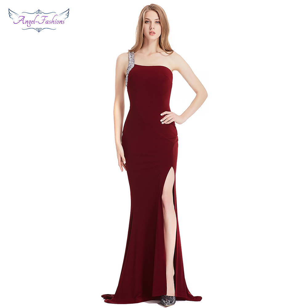 Angel-fashions Formal Gown One Shoulder Sequin Slit Backless Hollow Out Long   Evening     Dresses   Wine Red 376