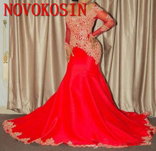 2019 Elegant African American Black Girls Prom Dress Long Mermaid Applique Beaded Red Evening Dresses Gowns