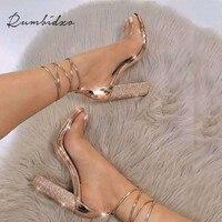 Rumbidzo 2018 Fashion Women Sandals 2018 Open Toe High Heels Shoes Woman Clear Transparent Summer Party