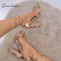 Rumbidzo 2018 Fashion Women Sandals 2018 Open Toe High Heels Shoes Woman Clear Transparent Summer Party