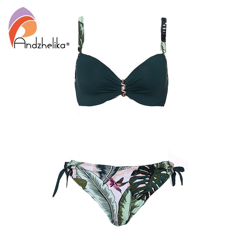 Andzhelika Green Print Bikini 2019 New Summer Sexy Push Up Bikini Set High-grade Pearl Jewelry Plus Size Swimwear Bathing Suits