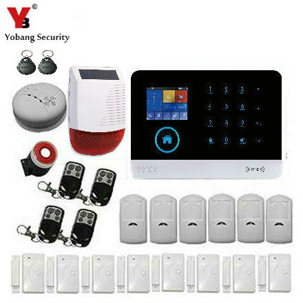 все цены на Yobang Security Wireless Touch Keypad Home Wifi GSM Security Alarm System With Fire Smoke Detector APP Outdoor Solar Siren