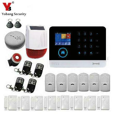 Alarm System Kits Yobang Sicherheit Wireless Touch Keypad Home Wifi Gsm Sicherheit Alarm System Mit Feuer Rauchmelder App Outdoor Solar Sirene GläNzende OberfläChe