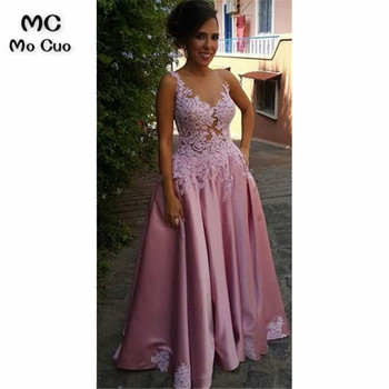 2019 Plunging Illusion Evening Dresses Long with Appliques Lace Satin Pockets Draped Evening Party Dress for Women Custom Made