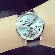 2015 Trended Women's Qualified Designed Who Cares Faux Leather Arabic Numerals Letters Printed Watches 6327 C2K5W