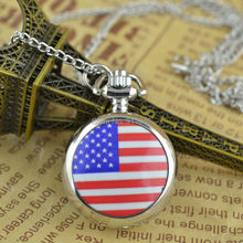 Hot Sell Small Size Silvder Case UK Flag USA Flag Quartz Fob Pocket Watch Necklace Chain Women Sweater Chain 100pcs/lot