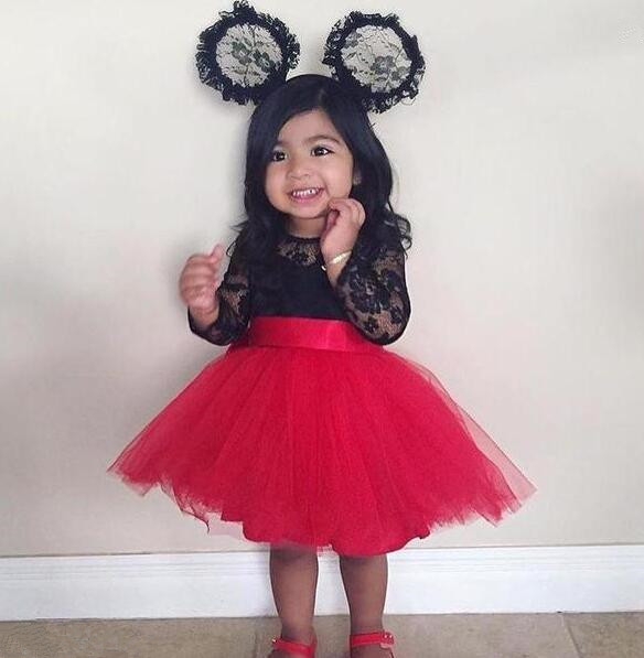 Jolies manches longues transparent dentelle noire rouge tulle robes de demoiselle d'honneur pour la fête de noël infantile bébé robe d'anniversaire avec ceinture d'arc