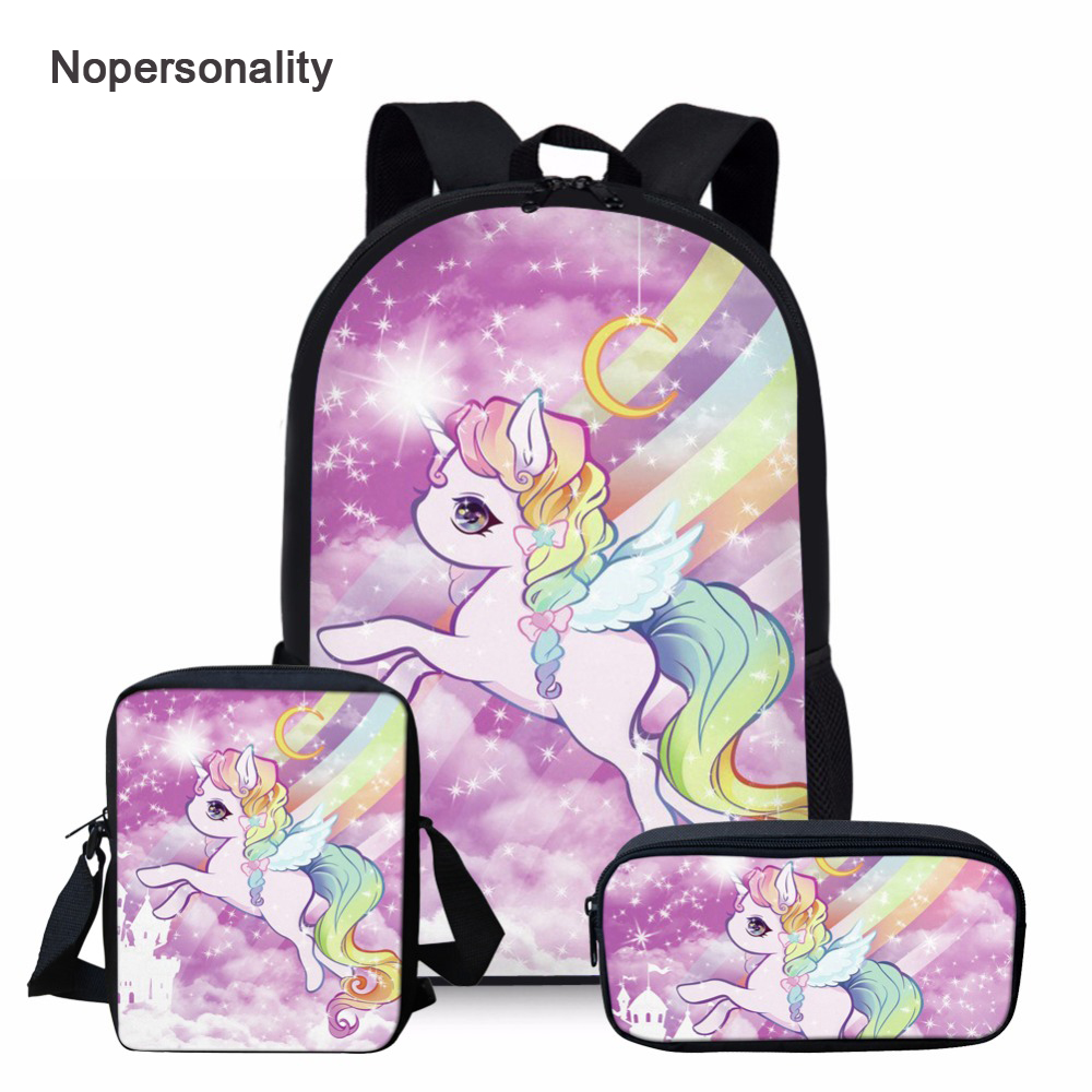 Nopersonality Cartoon Unicorn School Bag Sets For Girls Cute Student Kids Schoolbag Primary Child Bookbag Mochila Escolar