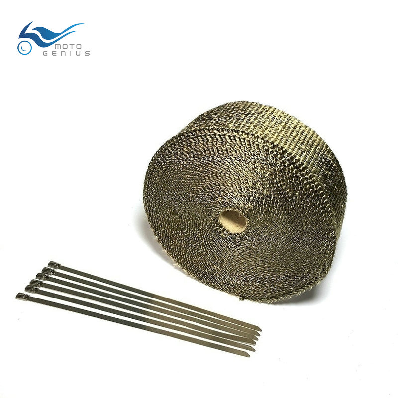 15M  Lava Fiber Exhaust Wrap Tape Titanium Motorcycle Exhaust  Header Exhaust Pipe Heat Wrap  6 Pcs Cable LockingTies