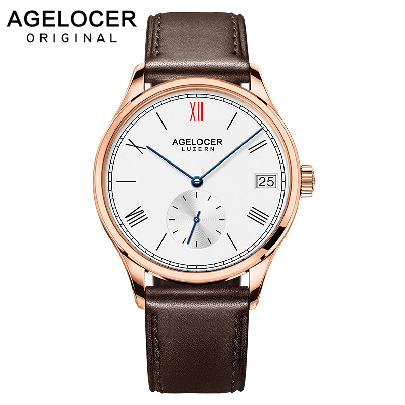 Agelcoer Luxury Brand Automatic Watches Gold Watch Designer Watch Brown Leather Strap Watch 1101D2Agelcoer Luxury Brand Automatic Watches Gold Watch Designer Watch Brown Leather Strap Watch 1101D2