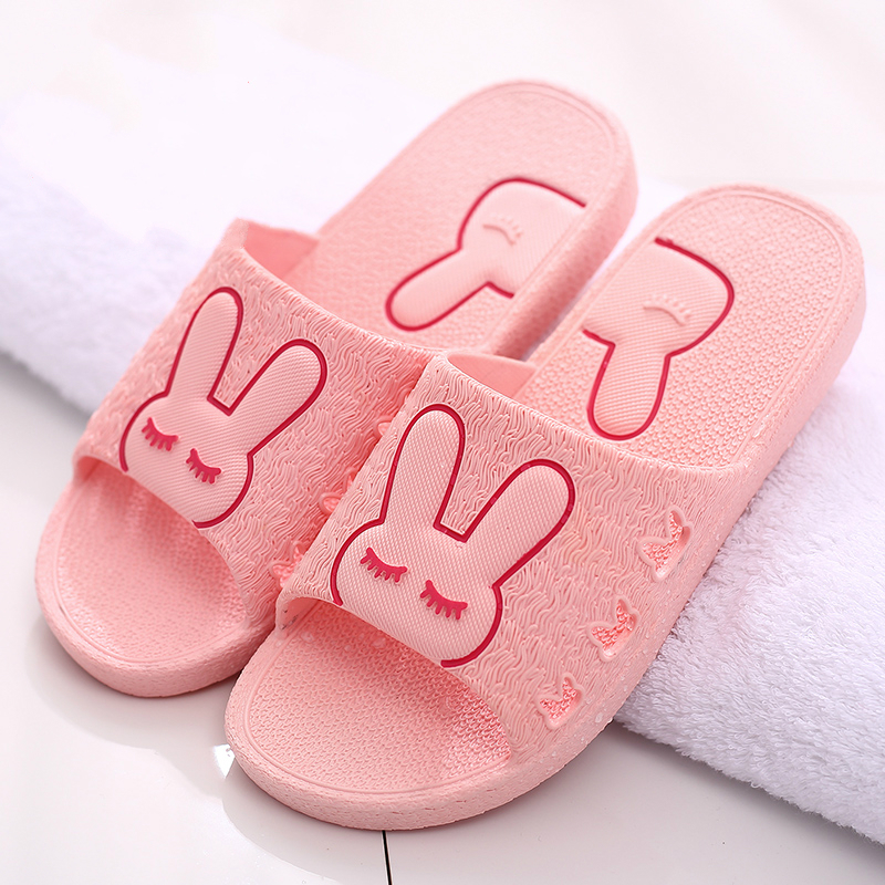 2017 Cool slippers female summer cute cartoon couple living in the home of non-slip plastic indoor floor bathroom slippers male 2017 bathroom slippers female summer home home indoor anti slip leaky bath plastic couple cool slippers male autumn summer