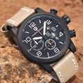 Часы мужские  топовые  роскошные  дизайнерские  кварцевые  из натуральной кожи  с секундомером  для спорта и активного отдыха