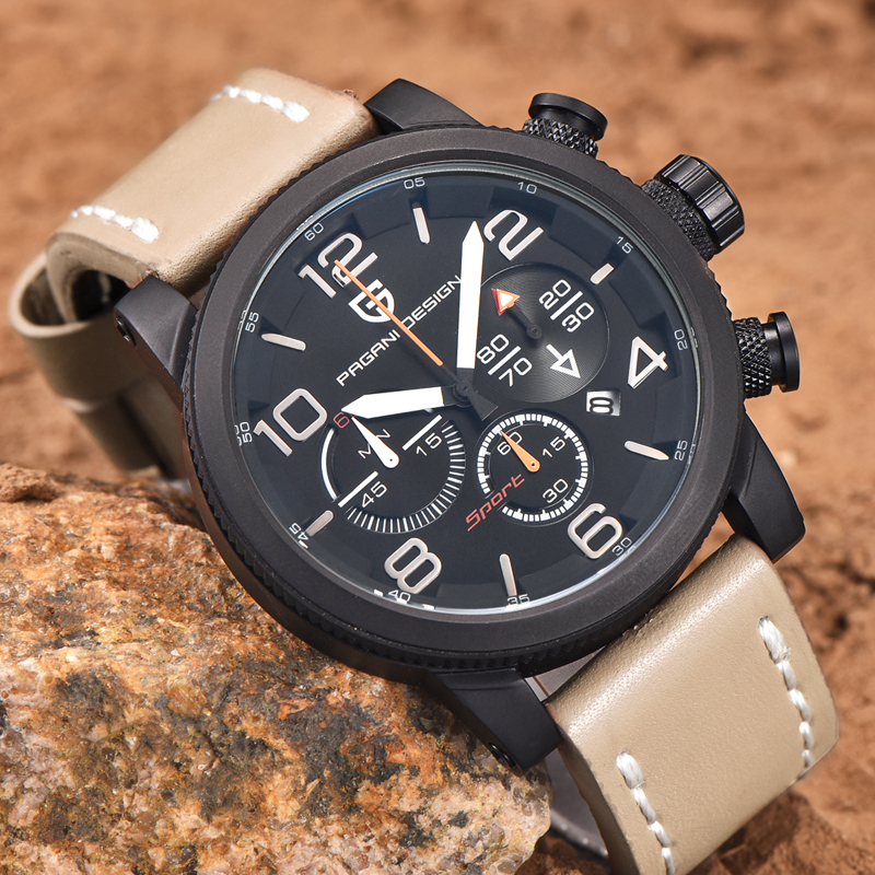 Mens Watches Top Brand Luxury PAGANI DESIGN Genuine Leather Quartz-watch Men Outdoor Sport Chronograph Reloj Hombre Wrist Watch