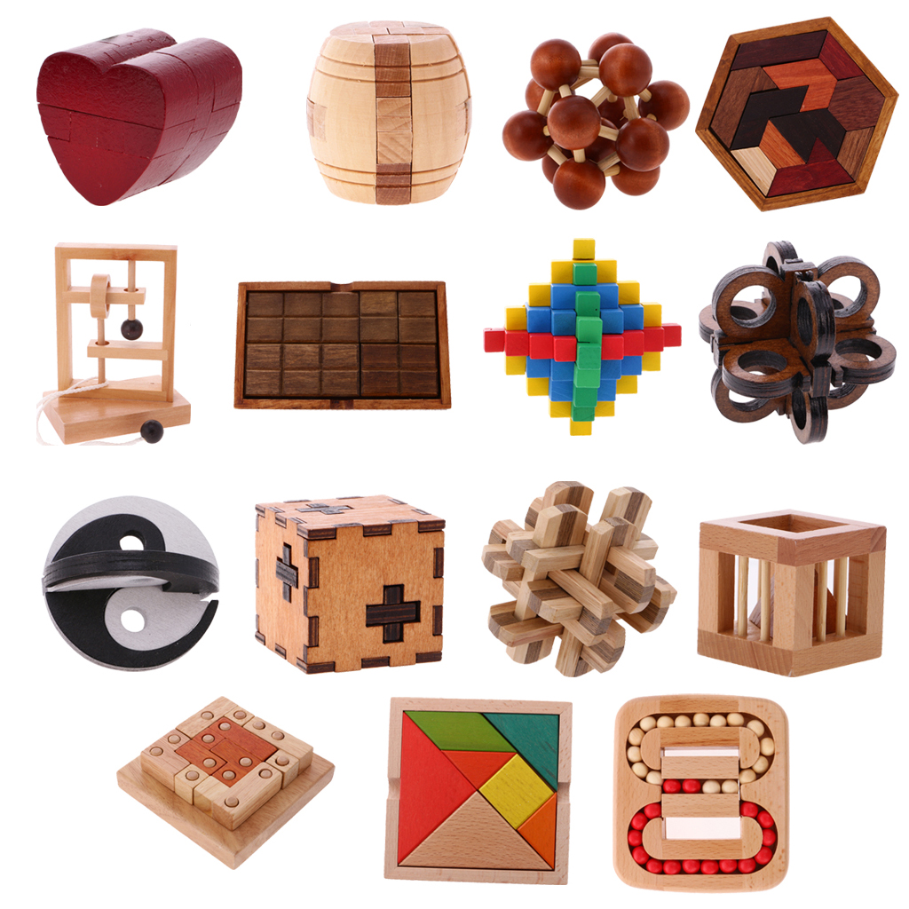 Wooden Intelligence Toy Wood Puzzle 3D Brain Teaser Puzzles Classical Wooden Intelligence Toy - Kong Ming Lock Untie The Rope