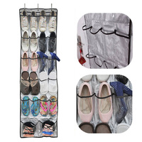 Fabric 22 Pocket 6 Layers With 3 Hooks Clear Over Door Hanging Storage Shoes Clothes Bags