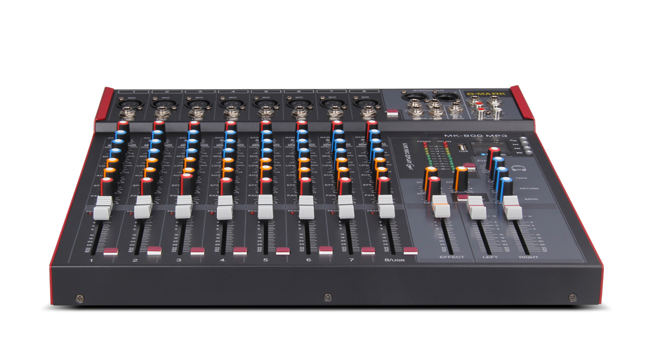 G-MARK MK800 Professional Mixer Audio Music Studio Console Stage Microphone Mixing DJ Party Church 48V Phantom Power