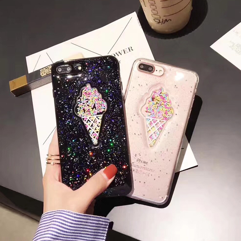 3D Dynamic Ice Cream Phone Case For iphone X Case Fashion Glitter Bling Back Cover Lovely Cartoon Cases For iphone X 10 Capa (9)