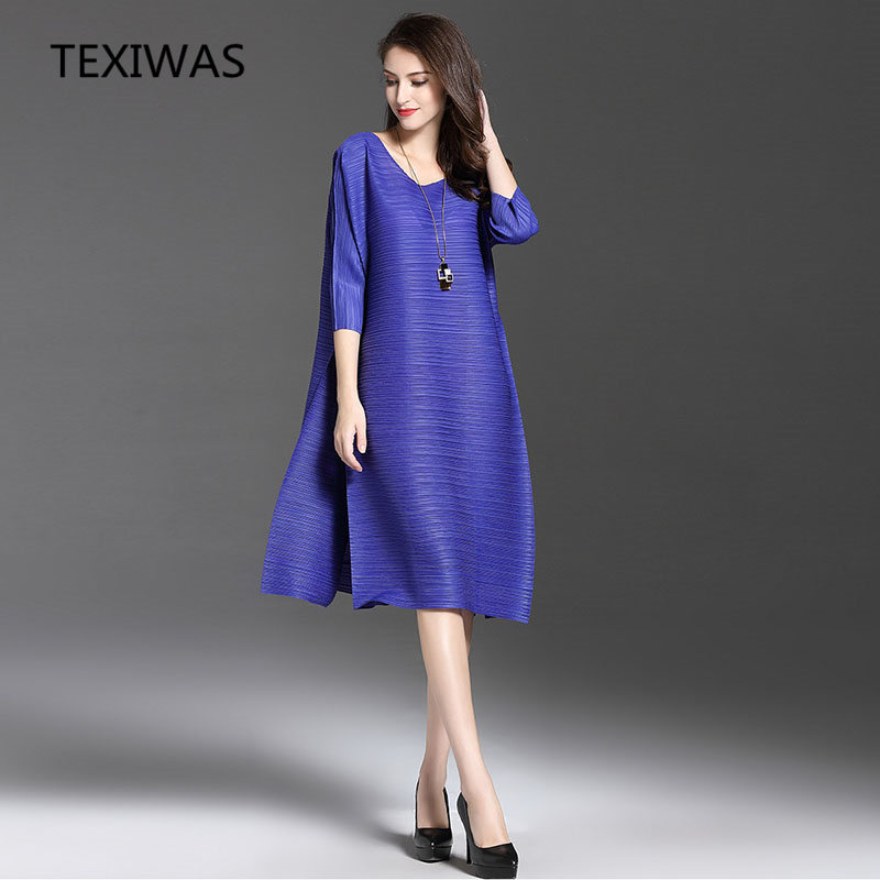 TEXIWAS Autumn Spring Fashion Solid Long Dress Women Ol Loose Fold A-line Dress Vintage Pleated Business Party Dress Female