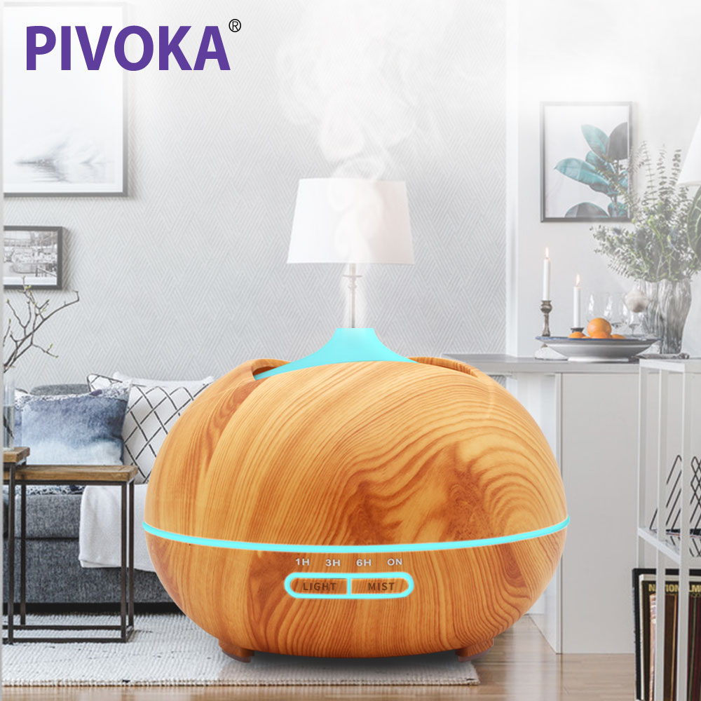 PIVOKA 400ml Air Aroma Humidifier Ultrasonic Essential Oil Diffuser LED Lights Mist Maker luchtbevochtiger For Home 005 nieuwe mini usb donut luchtbevochtiger luchtreiniger aroma diffuser maker stoom draagbare kantoor thuis luchtbevochtiger