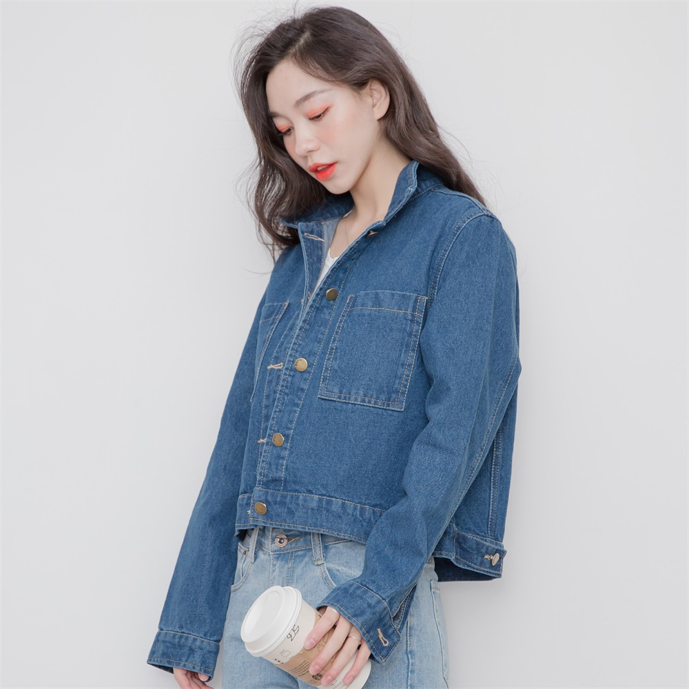 2017 Korean Designer Clothing Female Street Wear Spring Autumn Women Vintage Stylish Solid BF Denim Jackets Fashion Jeans Coat