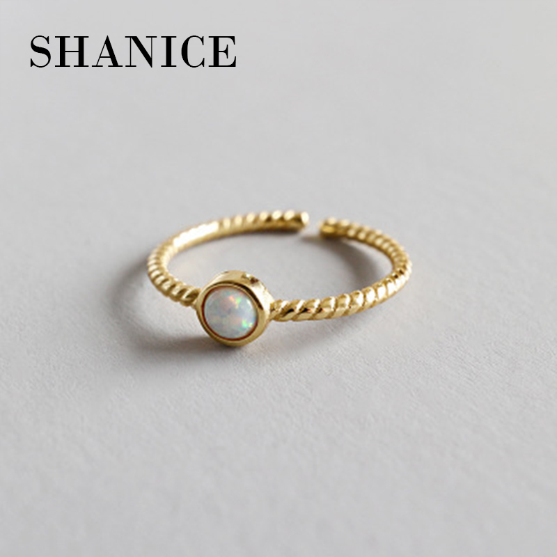 SHANICE Old 925 Sterling Silver Open Rings Opal Crystal Weave Braid Adjustable Finger Rings Korea Style Silver Jewelry