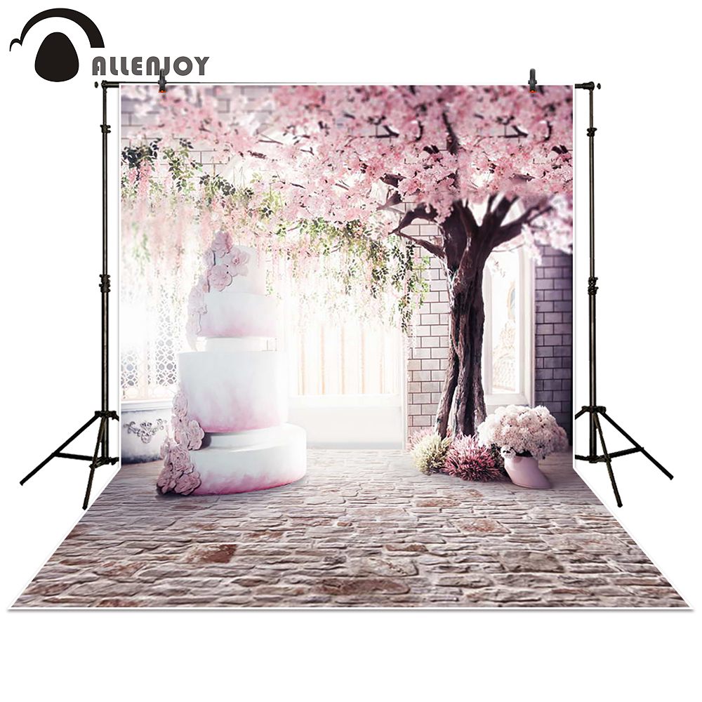 Allenjoy Photography Backdrop pink cherry blossom brick wall cake with cherry trees wedding background photocall photobooth