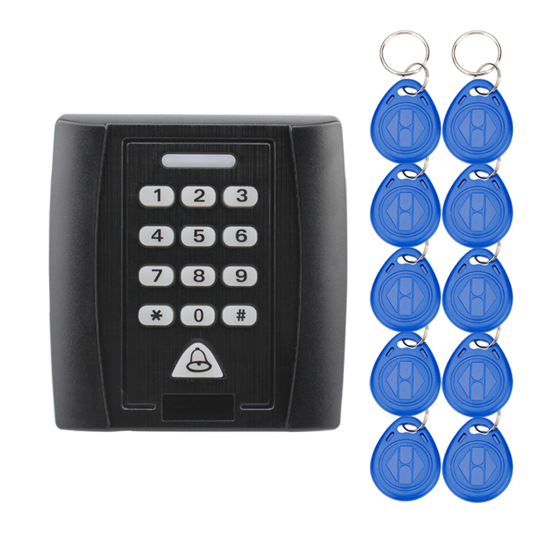 RFID access controller with 10pcs 125KHz ID keychains black access keyboard countless lock for door access control system programmable rs232 usb yd511ds 15 keys digital keyboard pin pad password keyboard with lcd for epos access system