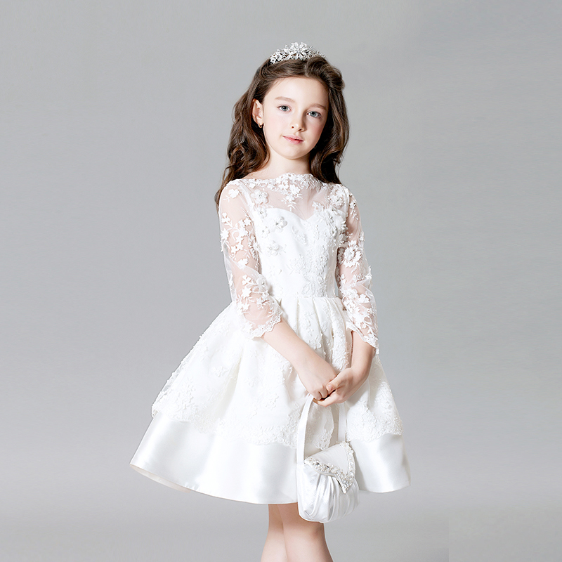 Summer 2017 Fashion Sweet Baby Girls Dress Lace Embrodiery Prom Party Knee Length Princess Flower Girls Dress For Wedding P17