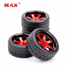 4Pcs/Set PP0150+D6NKR 1:10 Scale Rubber Tires & Wheel Rims fit HSP HPI RC On Road Racing Car Model Accessories цена в Москве и Питере