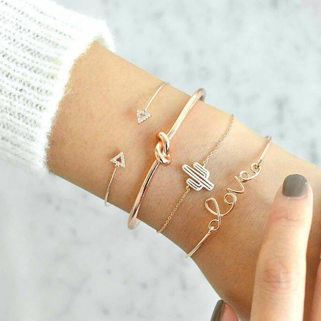 4 pcs/set Gold Color Cactus Letter Knot Cuff Bangle Bohemian Fashion Crystal Geometric Metal Chain Bracelet Statement Jewelry