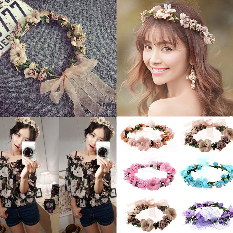 Newly Women Ladies Girl Sweet Princess Headband Floral Crown Flower Hairband Wedding Party Hair Garland Summer