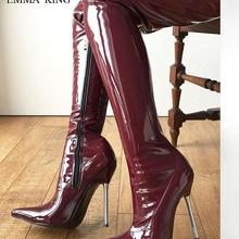 40ab5214d2 2019 Nova Coxa Botas Altas Das Mulheres Couro Envernizado Ferro Stiletto  Sapatos De Salto Alto Botas Longas Sexy Sapato de Bico .