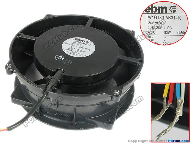 ebm-papst W1G180-AB31-10 Server Round Fan DC 24V 4.3A 0x0x70mm 4-wire