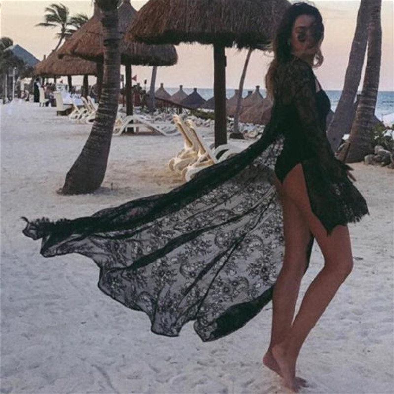 2020 Sexy Black Whie Women Lace Flower Cardigan Beach Long Dress Cover-Ups Sexy Bikini Cover Up Sunscreen Beachwear