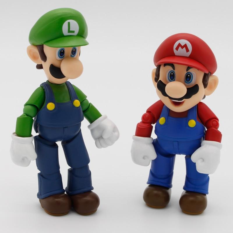 C & f 11 см аниме Super Mario Bros. Аниме фигурку игрушки ПВХ Mario Luigi красный зеленый Косплей съемный коллекционные игрушки