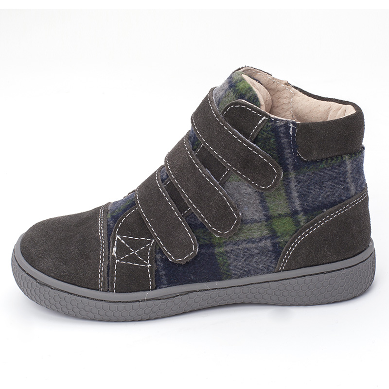 Image 3 - PEKNY BOSA Brand kid plaid ankle boots children Genuine Leather barefoot shoes spring autumn high top toddler girl and boy shoes-in Boots from Mother & Kids