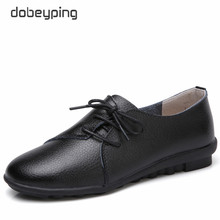 dobeyping New Spring Autumn Shoes Woman Genuine Leather Women Flats Lace Up Mother Loafers Solid Female Shoe Casual Driving