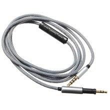 Прочный нейлон кабель наушников с микрофоном для AKG K450 K451 K452 аудио кабель для Iphone для Samsung 1.2 м 3.5 мм до 2.5 мм кабель core