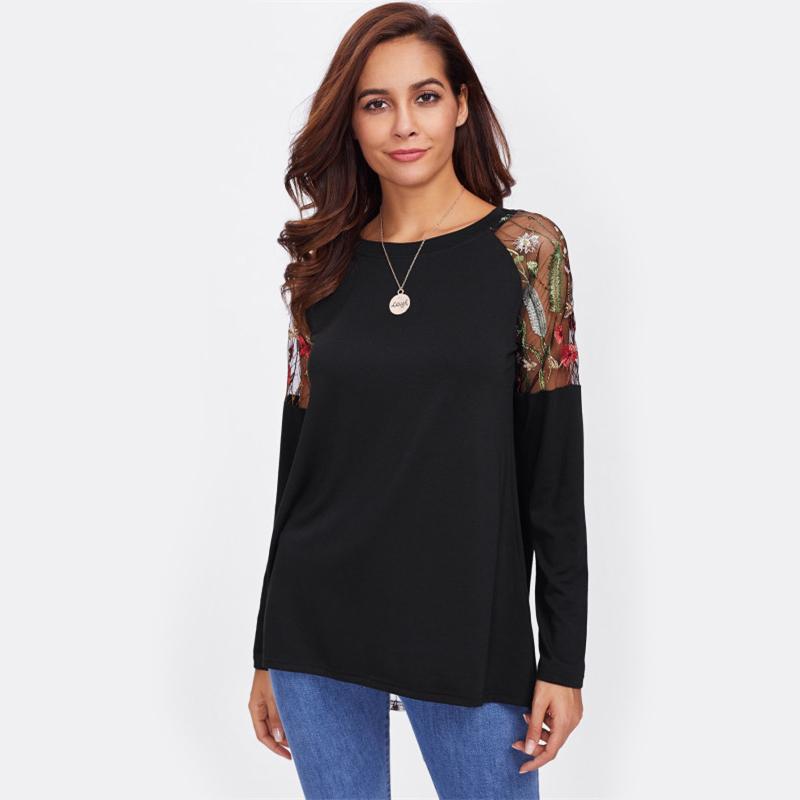 SHEIN Koronki Ramię Łuk Pokrywają Powrotem Tee Długim Rękawem T koszula Kobiety Czarny 2017 New Moda Jesień Kobiet Seksowna Koszulka 15