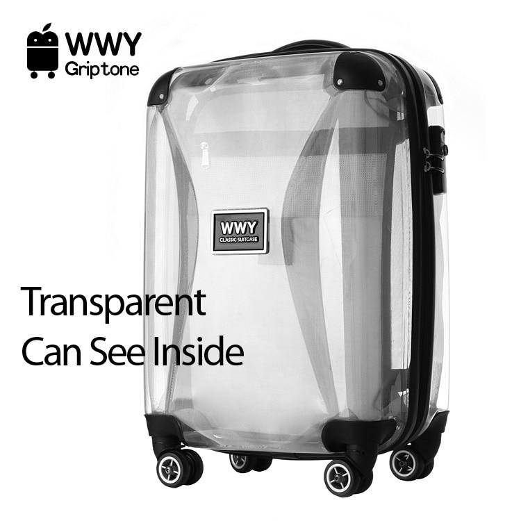 guaranteed100 22 travel transparent plastic suitcase. Black Bedroom Furniture Sets. Home Design Ideas