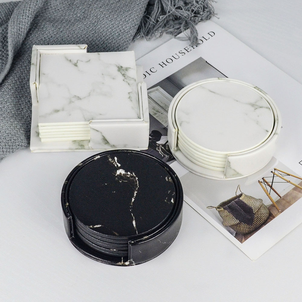 Creative PU Leather Marble Coaster Drink Coffee Cup Mat Tea Pad Dining Table Placemats Table Black White Chic Decoration 6PCS|Mats & Pads| |  - title=